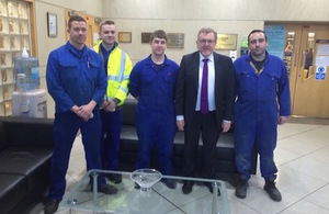 Scottish Secretary David Mundell with engineering apprentices