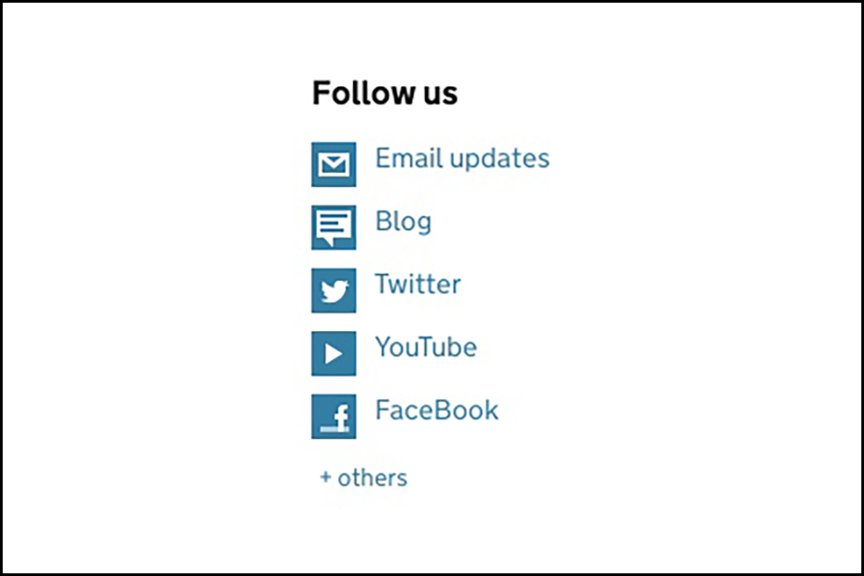 Image of follow us options
