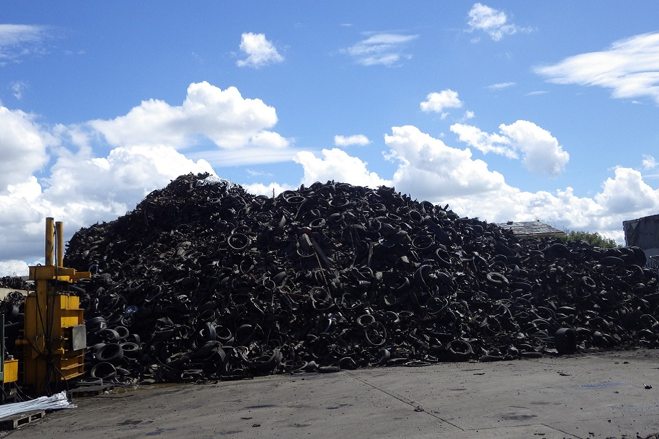 Images shows piles of tyres at Hartlepool site