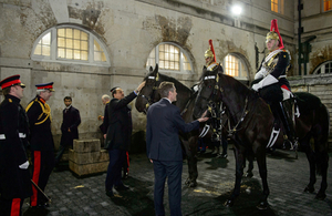 Defence Secretary Gavin Williamson and Minister of State for Defence Affairs of Qatar, His Excellency Dr Khalid bin Mohammed Al-Attiyah, met horses and soldiers from the Blues and Royals at Horse Guards in London. Crown copyright.