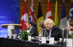 Foreign Secretary Boris Johnson speaking at the Vancouver summit.