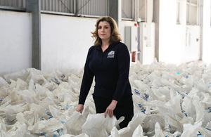 International Development Secretary Penny Mordaunt in Djibouti with aid destined for Yemen. Picture: Benet Coulber/DFID