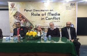 Senior journalist Mr Sohail Warraich, Mr Rizwan Razi, and an eminent journalist and academia from the University of Westminster, Professor Jean Seaton as panel members.