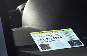 Image of Blue Badge displayed in car.