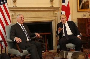 US Secretary of State Rex Tillerson and British Foreign Secretary Boris Johnson meet in London