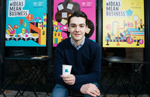 Young entrepreneur, Ben Towers at the ideas mean business launch in December 2017.