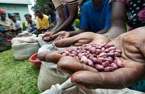 Members of the Kyamaleera Women's Handicraft Association in Uganda present their drought resistant beans