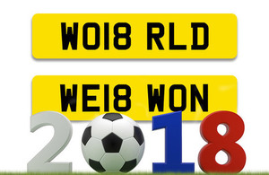 World Cup-inspired personalised registration numbers from DVLA
