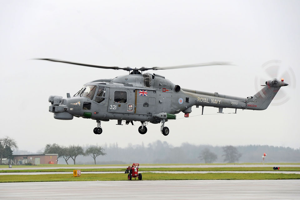 Royal Navy Lynx helicopter prepares to land