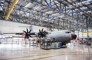A £70 million hangar large enough to contain three of the RAF's new Atlas transport aircraft at the same time was officially opened by Defence Minister Guto Bebb at RAF Brize Norton today. Crown copyright.