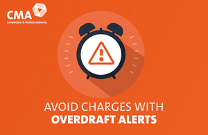 graphic image of an alarm clock with text saying avoid charges with overdraft alerts