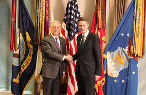 The Defence Secretary Gavin Williamson and his US counterpart, Jim Mattis, have been discussing how to tackle the increasing threats faced by both allies. Crown copyright.