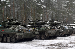 Warrior armoured vehicles waiting to start live firing [Picture: Crown copyright]
