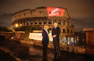 On. Lavinia Mennuni and Ambassador Christopher Prentice at the Colosseum