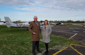 Baroness Sugg and Bryon Davies at Elstree Aerodrome.