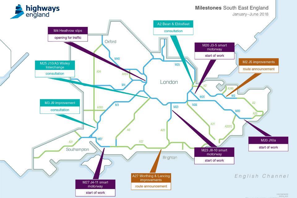 Map showing the projects in the South East