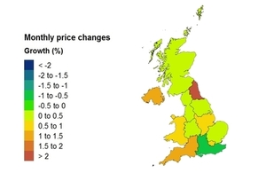 price change heat map for UK House Price Index