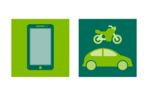 Image of mobile phone, car and motorcycle
