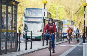 Cyclist in Manchester.
