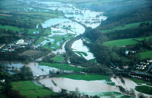 Tiverton aerial view of flooding