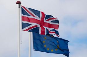 The EU and Union Jack flag