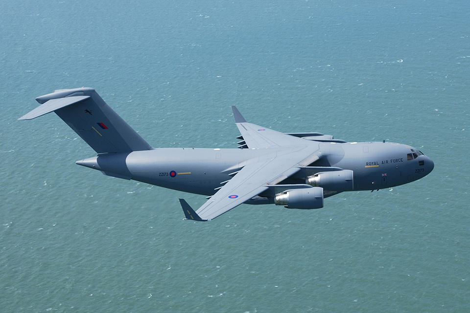 An RAF C17 transport aircraft pictured in transit. Crown Copyright.