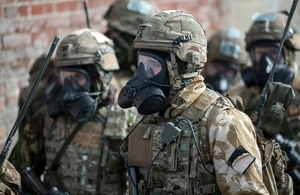 Marines in CBRN kit on Exercise Toxic Dagger