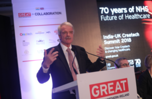 Picture of Sir Malcolm Grant, Chair of NHS England, speaking at the India-UK Createch Summit