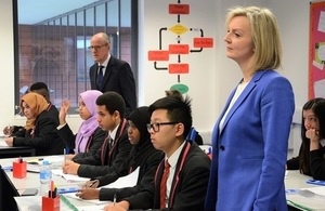 Chief Secretary to the Treasury, Elizabeth Truss and School Standards Minister Nick Gibb observe a maths class at Lilian Bayliss Technology School, London