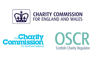 Logo's for Charity Commission, Charity Commission Northern Ireland and the Scottish Charity Regulator