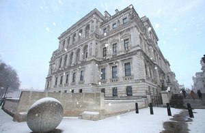 Foreign & Commonwealth Office building, viewed from St James's Park, in the snow