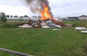 Waste burning at Ingoldmells Leisure park site