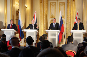 Defence Minister of the Russian Federation, Sergey Shoygu, Foreign Secretary William Hague, Foreign Minister of the Russian Federation, Sergey Lavrov and Secretary of State for Defence, Philip Hammond
