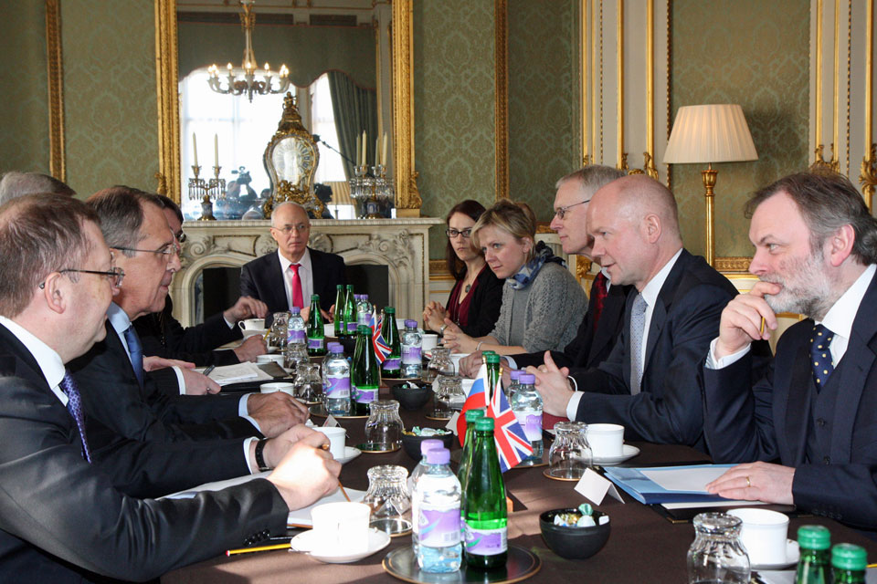 Foreign Secretary William Hague meeting Russian Foreign Minister Sergey Lavrov