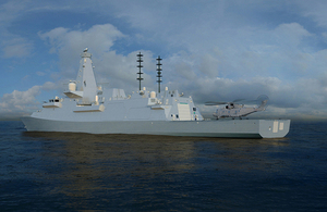Computer Generated Image of the future Type 26 Global Combat Ship with embarked Merlin Helicopter. Crown copyright.
