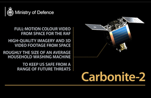 The Chief of the Air Staff today announced the RAF's role in the launch and operation of a demonstrator satellite. Now in orbit, the Carbonite-2 offers sovereign, full-motion colour video from space for the RAF for the first time.