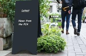 Pub billboard stating, 'PCA latest news'