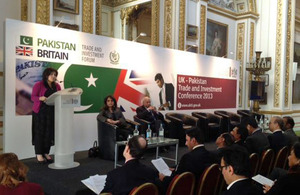 Today Baroness Sayeeda Warsi addressed more than 60 companies gathered in London for the inaugural UK - Pakistan Trade and Investment Conference