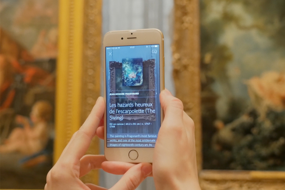 Smartify user scanning Jean-Honoré Fragonard's Les hazards heureux de l'escarpolette (The Swing), c. 1767-1768 at The Wallace Collection, London, 2017. © Smartify