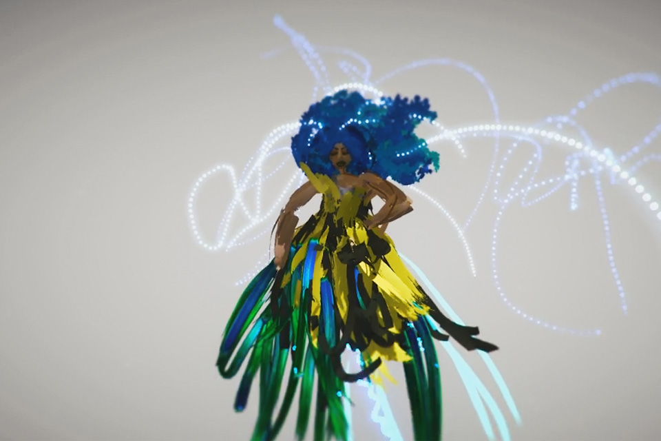 An early example of one of the first VR sketches local artist Honey Williams (aka THEHONEYEFFECT) made using Tilt Brush by Google. Residences Programme Near Now