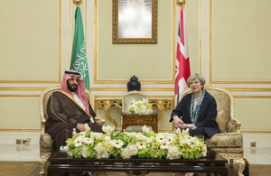 Prime Minister Theresa May and Crown Prince Mohammed bin Salman