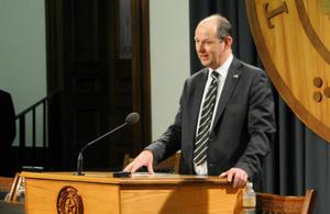 Deputy Ambassador Philip Barton speaking on UK Day at the Texas Capitol in Austin, Texas