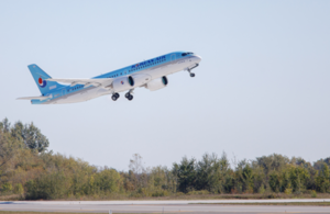 Korean Airlines aircraft takes off