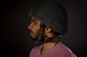 Demo of knitted yarn on helmet