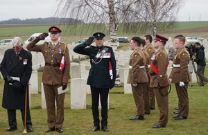 Captain Matt Tovey, Senior Officer representing Royal Anglians (left) Rob Thompson, Defence Attaché, British Embassy salute in front of the Royal Anglians, Crown Copyright, All rights reserved