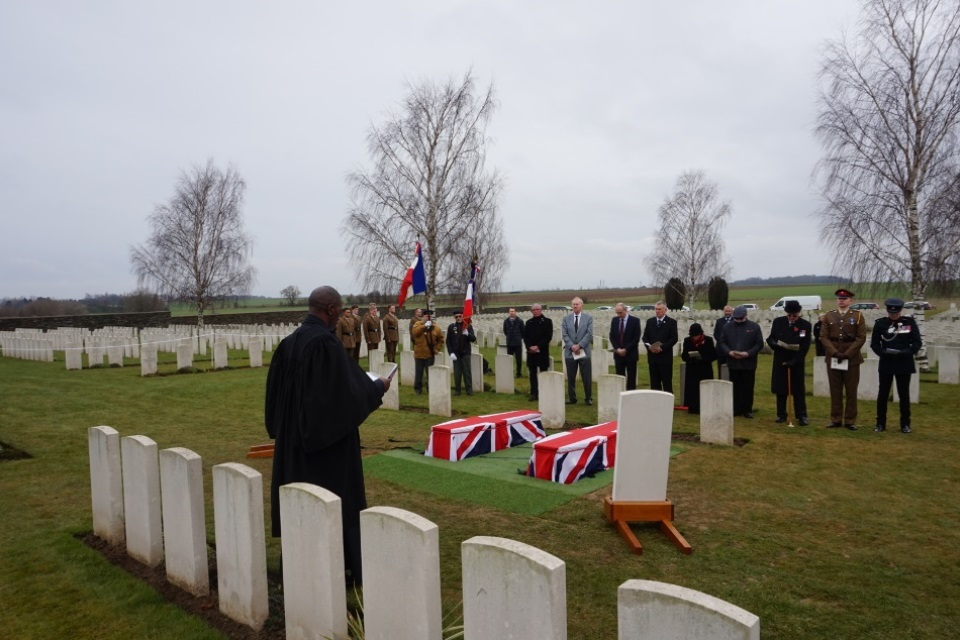 The Reverend John Swanston CF, 1st Battalion, The Rifles, leads the service for the two unknown British soldiers, Crown Copyright, All rights reserved