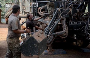 Lance Corporal Patrick Crowe and Lance Corporal Liam Beach at work on a pump installation [Picture: Corporal Andy Reddy, Crown copyright]