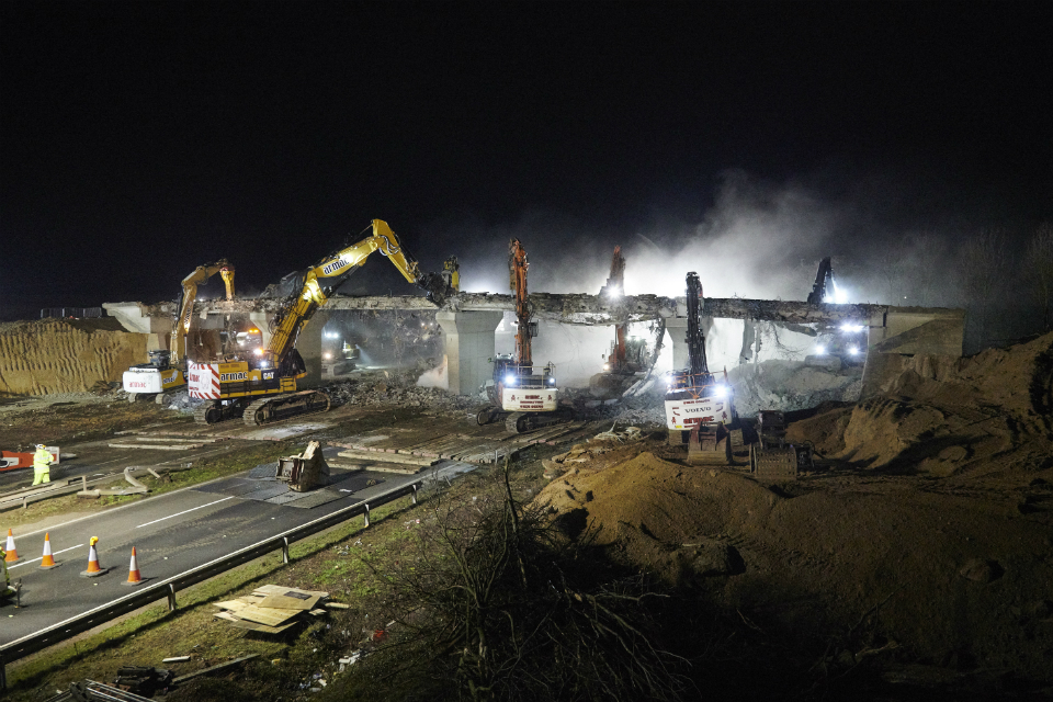 Brampton Road bridge being demolished