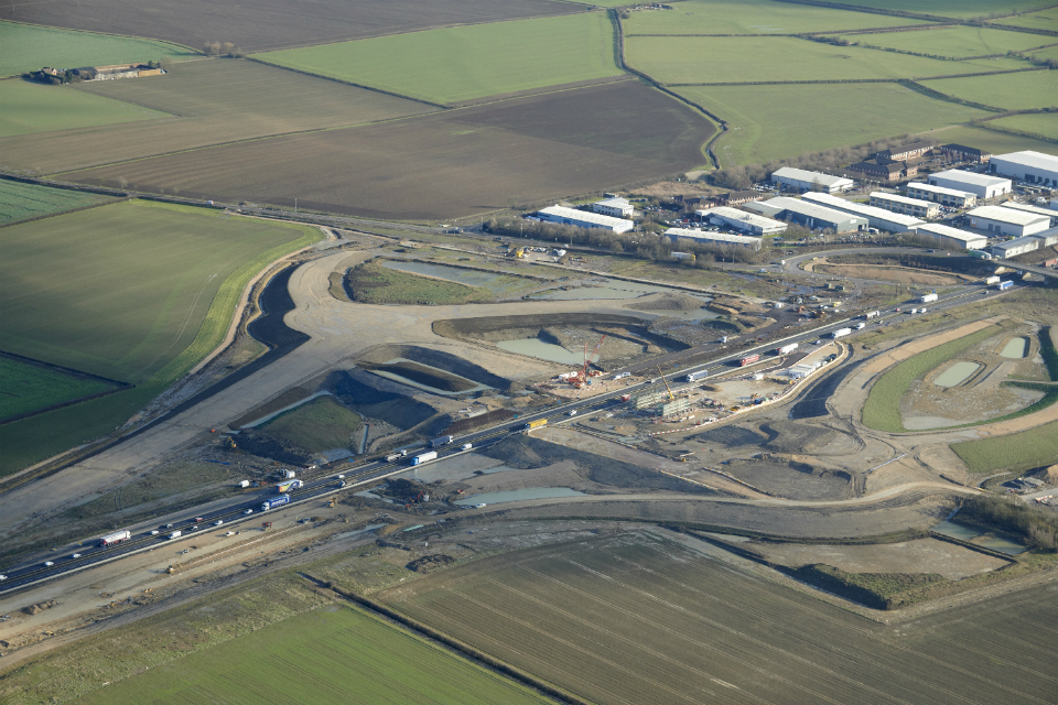 The Swavesey interchange taking shape in January 2018