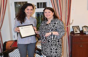 British Ambassador presents certificate to Nargilya Gasanova